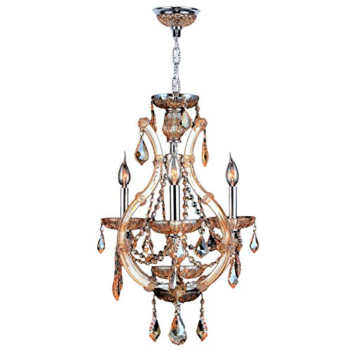 Worldwide Lighting Lyre Collection 4 Light Chrome Finish and Amber Crystal Chandelier 16