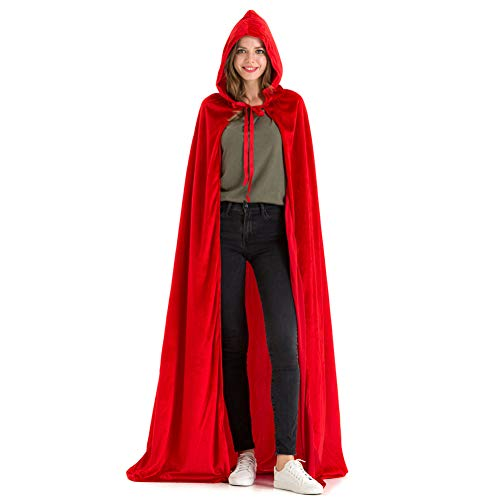 Red Riding Hood Capes (Hsctek Dracula Red Cape Adult,Halloween Red Riding Hood Cape Women Costume,Deluxe Velvet Red Cloak with Hood)