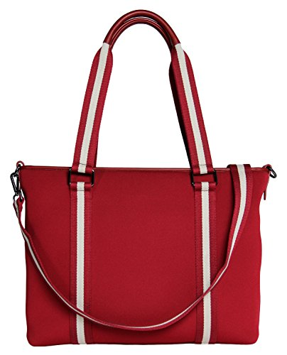 BFB Neoprene Laptop Bag for Women – No More Boring Briefcases – Here's a 17 Inch Computer Bag Thats Lightweight and Stylish – Look and Feel Great Carrying This Designer Business Shoulder Bag - RED