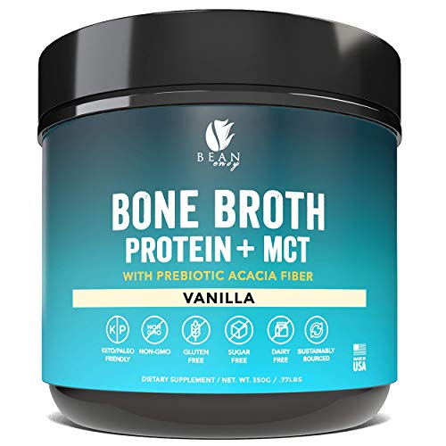 Bean Envy Bone Broth Protein Powder + MCT Oil + Prebiotic Acacia Fiber for Joint Protection, Better Digestion, Energy Boost, Weight Loss, and Sleep – Vanilla