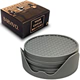 BARVIVO Grey Triangle Drink Coasters Set of 8 - Tabletop Protection For Any Table Type, Wood, Granite, Glass, Soapstone, Marble, Stone Tables - Perfect Soft Coaster Fits Any Size of Drinking Glasses.