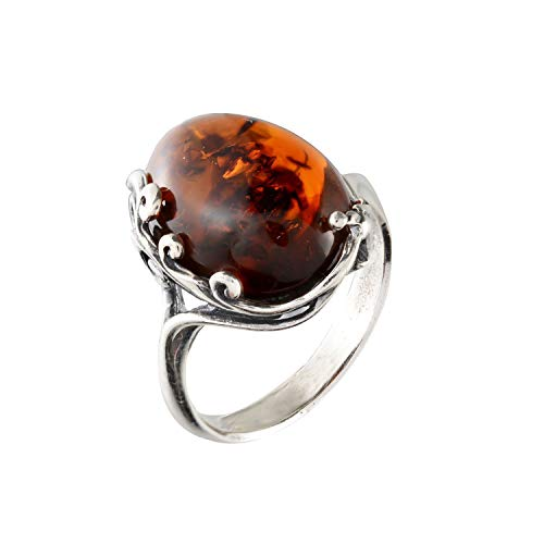 HolidayGiftShops Sterling Silver and Baltic Cherry Amber Ring Dana Size: 6.5