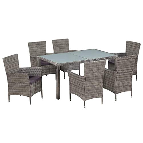 Festnight 7 Piece Outdoor Dining Set Glass Top Dining Table and 6 Chairs with Cushion Gray Poly Rattan Sectional Patio Conversation Set Garden Backyard Balcony Space Saving Furniture