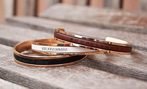 Personalized Cuff Bracelet Custom Date Roman Numerals Name Coordinates