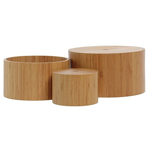 American Metalcraft RBRS3 11, 9 and 6'' Round Bamboo Riser Set by American Metalcraft