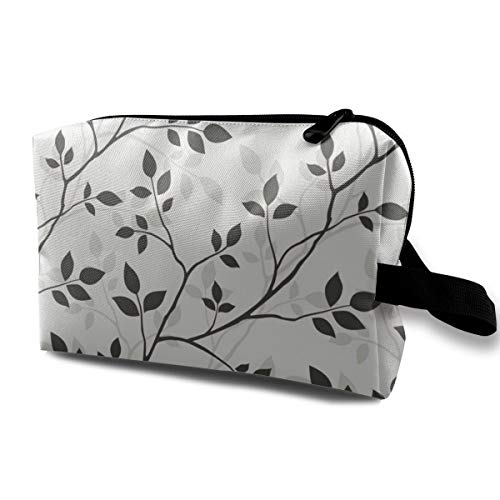 Black, White Leaves Cosmetic Bags Small Makeup Clutch Pouch Cosmetic and Toiletries Organizer Bag Women Makeup Travel Storage 10 X 6.3 X 5 Inch ()