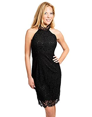 Yomoko Women's Halter High Neck Lace Cocktail Party Dress Bodycon Short Mini Dress