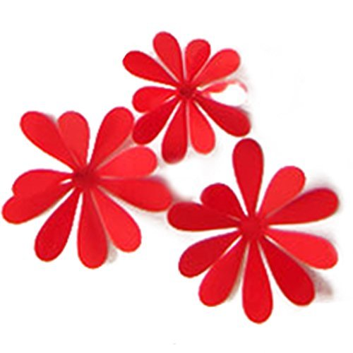 SODIAL(R) Creative 3D PVC Flowers Wall Stickers Acrylic Wall Decals For Kids Room Kitchen TV Wall Stickers Home Decor £¨red£ Dazhong Xiao size of the three 4