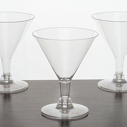 Tableclothsfactory 60 Pcs - Clear 5oz Posh Disposable Plastic Martini Glass by Tableclothsfactory