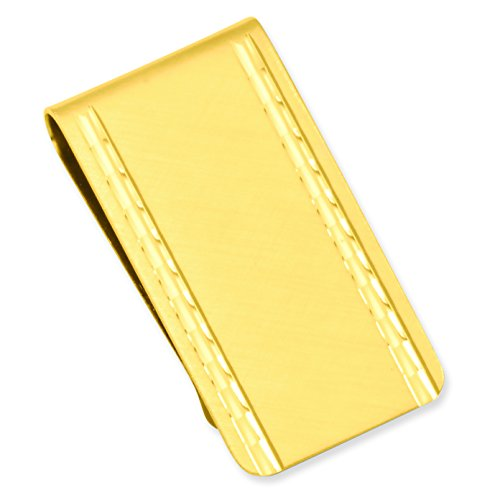 Diamond GP3795 Engravable Solid Clip Waters br Satin Kelly plated Gold br Gold Florentine Boxed Money cut Gift Polished Satin plated back Ax6wvP0q1