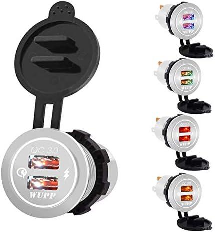 車の急速充電器12 V-24 VホワイトQC3.0デュアル2 USBポートモバイル携帯電話用オートバイ車の充電器ソケットデュアルUSB充電器2ポート電源ソケット
