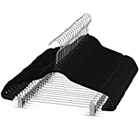 ZOBER Premium Quality Space Saving Velvet Pants Hangers Strong and Durable, with Metal Clips - 360 Degree Chrome Swivel Hook - Ultra Thin Non Slip Skirt Hangers, with Notches (Black)