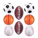 BESTOYARD Soft PU Mini Sports Balls for Kids Foam Squeeze Balls for Stress Relief Educational Toy 8pcs(Football, Basketball, Baseball, Rugby)