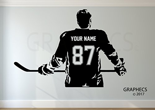 Personalized Hockey Wall Decal Choose your NAME NUMBERS Custom Player Jerseys Vinyl Decal Sticker Decor Kids (Any Player Name Jersey)