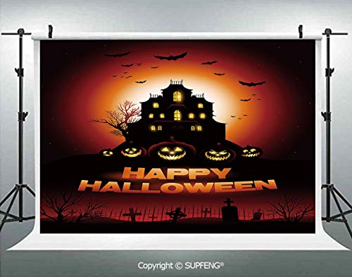 Photography Backdrops Happy Halloween Haunted House Flying Bats Scary Looking Pumpkins Cemetery Decorative 3D Backdrops for Photography Backdrop Photo Background Studio Prop]()