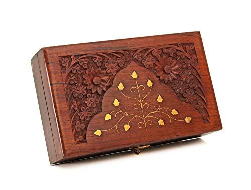 Carving Brass (Diwali Gifts Wooden Keepsake Storage Box Jewelry Trinket Holder Organizer Floral Hand Carvings with Brass Inlay)