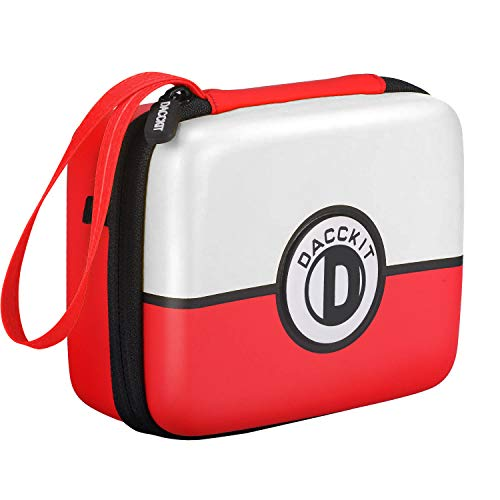 D DACCKIT Carrying Case for Pokemon Trading Cards, Fits Up to 400 Cards, Card Holder with Hand Strap & Carabiner(Red and White)