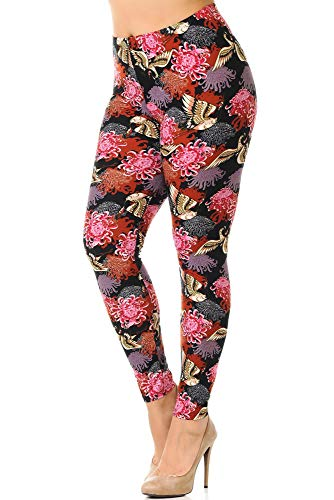 World of Leggings Buttery Soft Japanese Cranes and Chrysanthemums Plus Size Leggings -