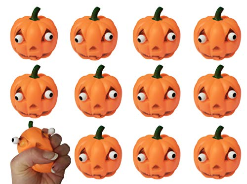 Curious Minds Busy Bags Bulk 12 Popping Eye Pumpkin Jack O Lantern - Squeeze Toy for Halloween Party Favor Stress Balls, Small Novelty Toy Prize Assortment Gifts (1 Dozen)]()