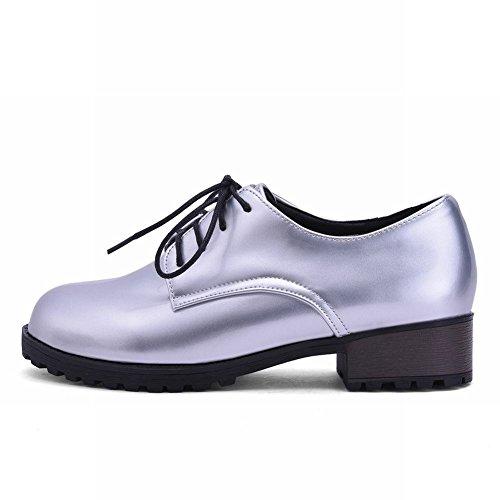 Shoes Mee Silber Damen dicker Geschlossen Schnürhalbschuhe bequem Absatz Schnürsenkel modern Plateau Niedrig populär runde mit SSBxwqZrd