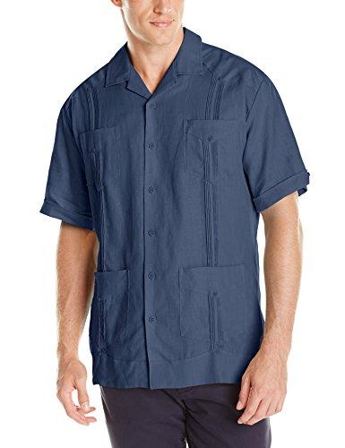 Cubavera Men's Short Sleeve 100% Linen Guayabera, Ensign Blue, X -