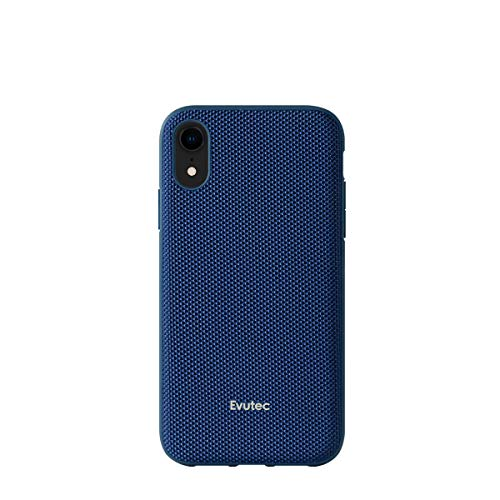 Evutec case Compatible with iPhone XR, Ballistic Nylon Premium Protective Military Grade Drop Tested Shockproof Phone Case- Blue (AFIX+ Magnetic Mount Included)