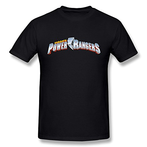 XiangXiangli Mens Sabans Power Rangers Logo Cotton Tee Shirts S Black
