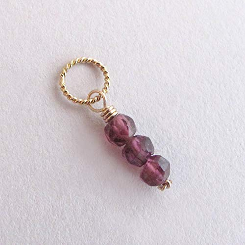 (Dainty Rhodolite Garnet Charm, Small Gemstone Pendant, January Birthstone - 14k Gold Filled)