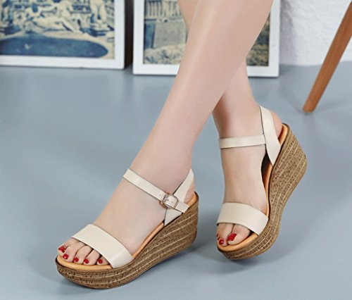 Casual Sand Wedge Sandals Student Roma Sandals Ankle Shoes (Color : Beige, Size : 35)