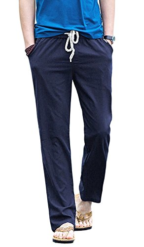 (TBMPOY Men's Linen Casual Elastic Loose Fit Straight Pants Yoga Beach Summer Trousers(1 Navy,us)
