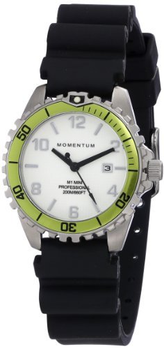 Women's Quartz Watch | M1 Mini by Momentum | Stainless Steel Watches for Women | Dive Watch with Japanese Movement & Analog Display | Water Resistant ladies watch with Date - White / Lime Rubber by Momentum