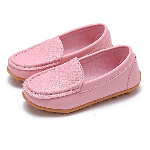 SOFMUO Boys Girls Leather Loafers Slip-On Oxford Flats Boat Dress Schooling Daily Walking Shoes(Toddler/Little Kids) Pink,29 by SOFMUO (Image #5)
