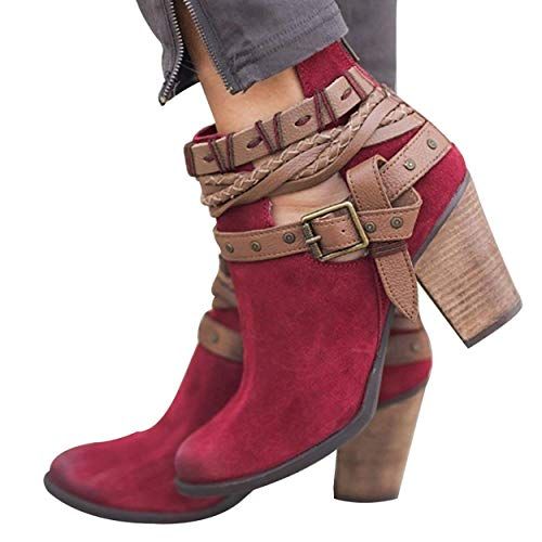 Maybest Ankle Boots Women's Chunky Heel Rivet Booties with Buckle Straps