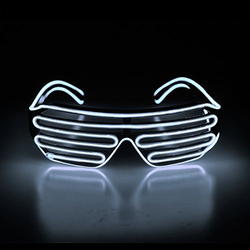 Aquat Light Up Flashing Shutter Neon Rave Glasses El Wire LED Sunglasses Voice Activated Glow DJ Costumes for 80s, EDM, Party RB02 (White, Black -