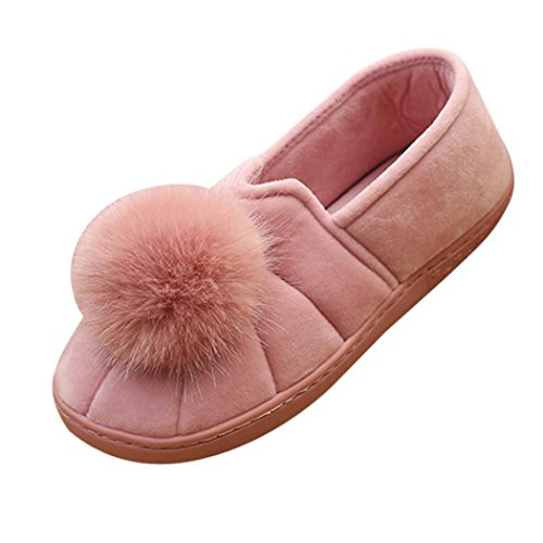 Kvinnor Platt Toffel, Inkach Snygga Tjejer Flip Flops Faux Fuzzy Bollen Platt Sandal Halkskydd Skor Rosa