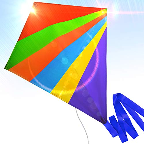 Easy to Fly Nylon Diamond Kite for Kids and Adults Great for Beach Trip and Outdoor Activities Perfect for Beginners Flies High in Light Breeze Flying String Line Included Big Flyer Childrens Toys ()