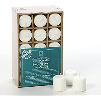 set of 30 white unscented votive candles up to 10 hour burn bulk
