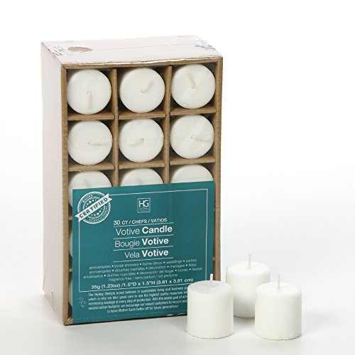 Hosley's Set of 30 White Unscented Votive Candles. Up to 10 Hour Burn. Bulk Buy. Wax Blend. Ideal for Wedding, Birthday, Spa, Aromatherapy, Party, Everyday Use O2