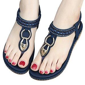 Decorate Donna Cuoio Estate Bassi Blu Pu Zoerea Sandali Perline Elegante Bohemia Da xTw6nvaSa