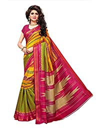 Shonaya Women Multi Colour Bhagalpuri Silk Printed Saree with Unstitched Blouse Piece