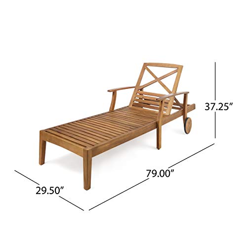 Great Deal Furniture Thalia Outdoor Teak Finished Acacia Wood Chaise Lounge (Set of 2) by Great Deal Furniture (Image #7)
