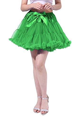 Tsygirls Women's 50s Vintage Bubble Skirt Crinoline Tutu Short Tulle Dance Petticoat Ballet Slip Chemise Underskirts Green Size L-XL