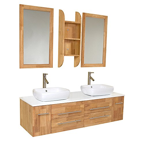 Fresca Bath FVN6119NW Bellezza Double Vanity Sink, Natural Wood well-wreapped