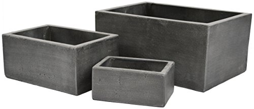 Rectangles Natural Cement Fiber Planter Set, Color: Charcoal (Large Lightweight Outdoor Pots)