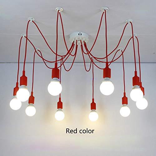 (FidgetFidget Big Spider Silicone Lampholder Pendant Lamp Chandelier Lights Ceiling Fixtures red Color 4 Lights)
