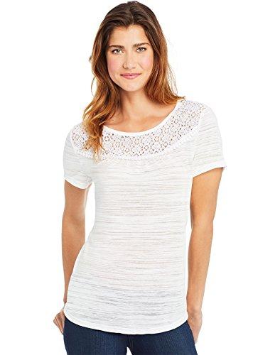 (Hanes Womens Peasant Lace Yoke Top, 2XL, White)
