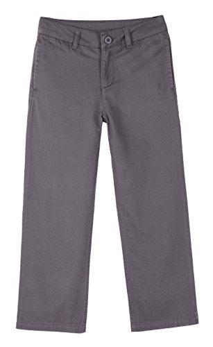 Trouser Uniform (Bienzoe Boy's School Uniforms Flat Front Cotton Twill Adjust Waist Pants Grey 8)