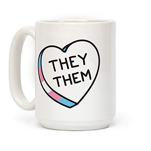 LookHUMAN They Them Candy Heart White 15 Ounce Ceramic Coffee Mug