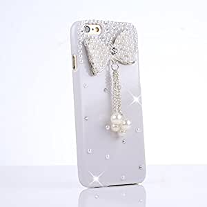 Aenmil® Iphone 6 Handmade Case Cover Bling Luxury Handmade 3D Pearl Crystal Diamond Rhinestone Bow Case Cover for Iphone 6 (White Bow)