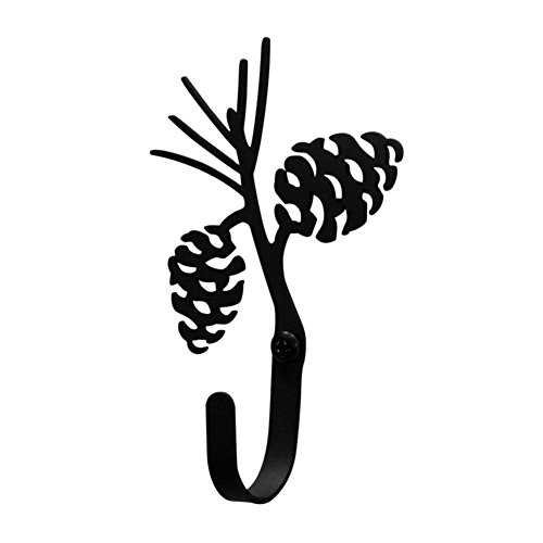 Iron Pine Cone Decorative Wall Hook Sm - Black (Pine Iron Door)